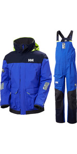 2020 Helly Hansen Mens Pier Sailing Jacket & Trouser Combi Set - Royal Blue