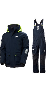2020 Helly Hansen Mens Pier Sailing Jacket & Trouser Combi Set - Navy