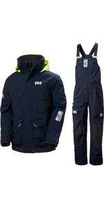 2020 Helly Hansen Mens Pier Sailing Jacket & Trouser Combi Set - Navy