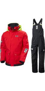 2020 Helly Hansen Mens Pier Sailing Jacket & Trouser Combi Set - Alert Red / Ebony