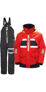 2021 Helly Hansen Mens Salt Coastal Jacket & Trouser Combi Set - Red / Ebony