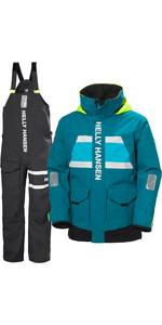 2021 Helly Hansen Mens Salt Coastal Jacket & Trouser Combi Set - Teal / Ebony