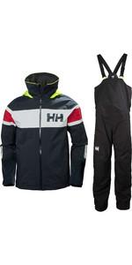 2020 Helly Hansen Mens Salt Flag Sailing Jacket & Trouser Combi Set - Classic Navy / Ebony