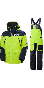 2020 Helly Hansen Mens Skagen Offshore Sailing Jacket & Trouser Combi Set - Azid Lime