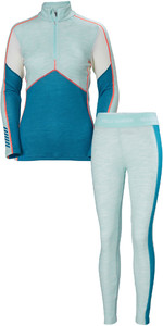 2019 Helly Hansen Womens HH Lifa 1/2 Zip Merino Base Layer Combi Set - Blue Tint Melange