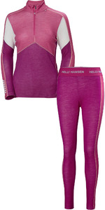 2019 Helly Hansen Womens HH Lifa 1/2 Zip Merino Base Layer Combi Set - Festival Fuchsia