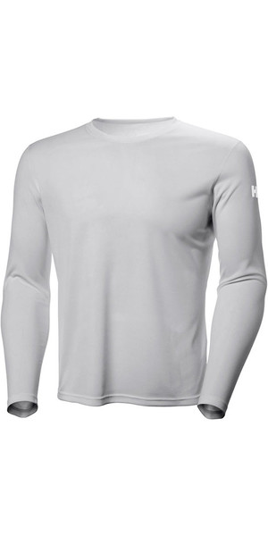 2019 Helly Hansen Tech Crew Long Sleeve Base Layer Light Grey 48364