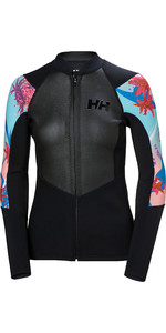2019 Helly Hansen Womens 2mm Water Wear Neoprene Front Zip Jacket Black 34020