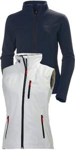 Helly Hansen Womens Daybreaker Fleece Jacket & Crew Vest Package Deal Graphite Blue / White
