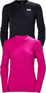 Helly Hansen Womens Long Sleeve Lifa Active Light Top & Tech Crew Base Layer Package - Graphite Blue / Dragon Fruit