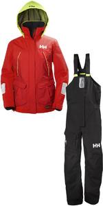 2019 Helly Hansen Womens Pier Coastal Jacket 33886 & Trouser 33901 Combi Set Red / Ebony