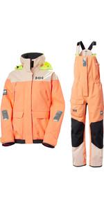2020 Helly Hansen Womens Pier Coastal Sailing Jacket & Trouser Combi Set - Melon