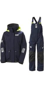 2020 Helly Hansen Womens Pier Coastal Sailing Jacket & Trouser Combi Set - Navy