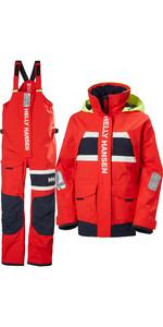 2021 Helly Hansen Womens Salt Coastal Jacket & Trouser Combi Set - Alert Red