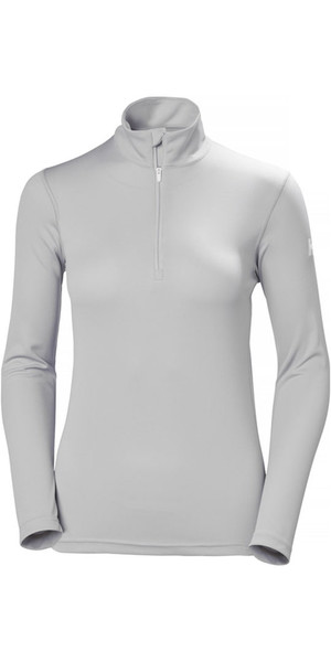 2018 Helly Hansen Womens Tech 1/2 Zip Long Sleeve Base Layer Light Grey 48375