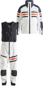 2019 Henri Lloyd Mens Fremantle Stripe Gore-Tex Jacket & Salopettes Combi Set Cloud White