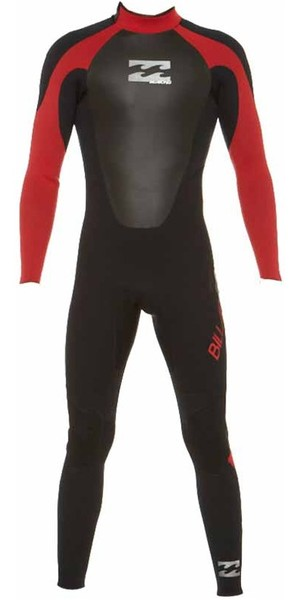 2018 Billabong JUNIOR Intruder 5/4/3mm GBS Back Zip Wetsuit BLACK / RED 045B15