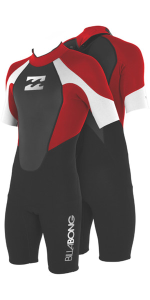 2018 Billabong JUNIOR Intruder 2mm Back Zip Shorty Black / Red / White S42B08