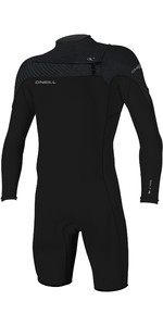 2019 O'Neill Mens Hammer 2mm Long Sleeve Chest Zip Spring Shorty Wetsuit Black / Jet Camo 4928