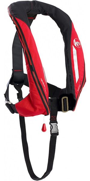 2018 Kru Sport 170N ADV Auto Lifejacket with Harness, Hood & Light Red LIF7361
