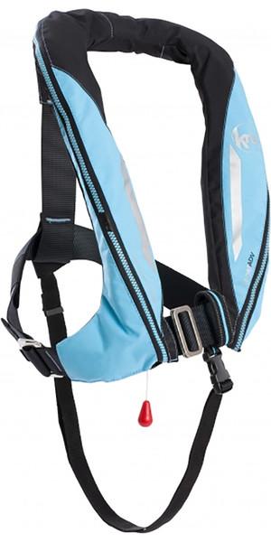 2018 Kru Sport 170N ADV Auto Lifejacket with Harness, Hood & Light Sky Blue LIF7365