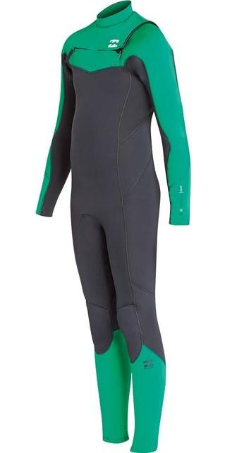 2018 Billabong Junior Furnace Absolute 3/2mm Chest Zip Wetsuit Green L43b05 Picture