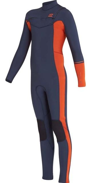 2018 Billabong Junior Furnace Revolution 4/3mm Chest Zip Wetsuit Slate L44b04 Picture