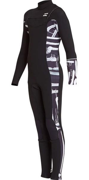 2018 Billabong Junior Furnace Revolution 4/3mm Chest Zip Wetsuit Black Print L44B04