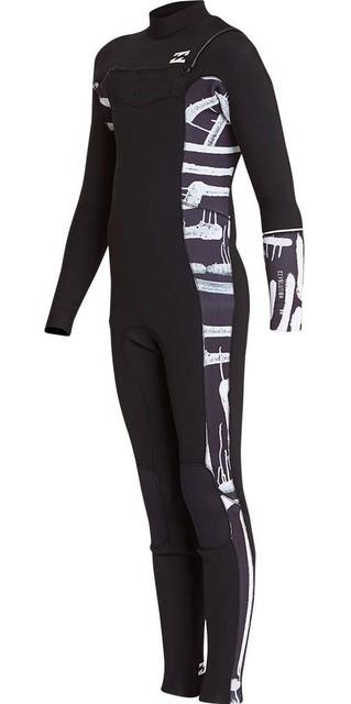 2018 Billabong Junior Furnace Revolution 4/3mm Chest Zip Wetsuit Black Print L44b04 Picture