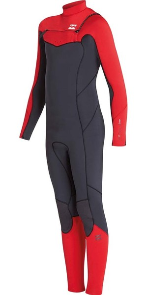 2019 Billabong Junior Furnace Absolute 4/3mm Chest Zip Wetsuit Red L44B05