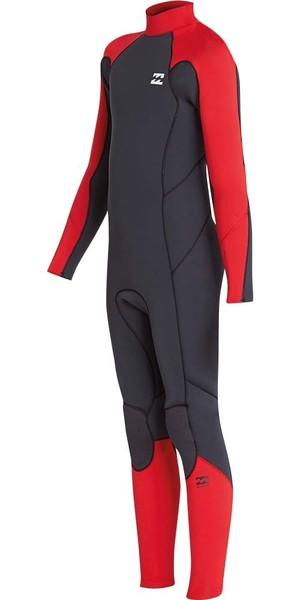 2018 Billabong Junior Furnace Absolute 4/3mm Back Zip Wetsuit Red L44B06