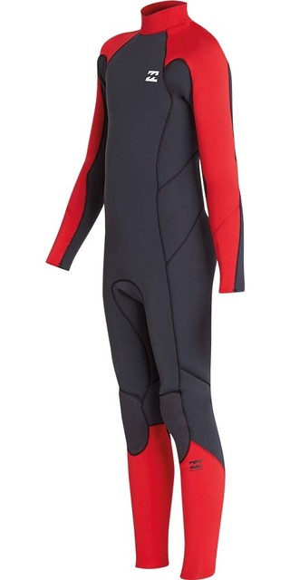2018 Billabong Junior Furnace Absolute 4/3mm Back Zip Wetsuit Red L44b06 Picture