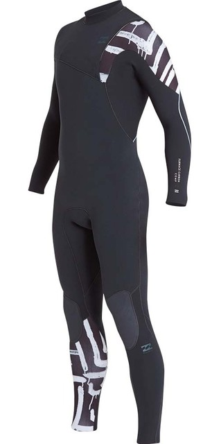 2018 Billabong Furnace Carbon Comp 3/2mm Ziperless Wetsuit Black Print L43m03 Picture