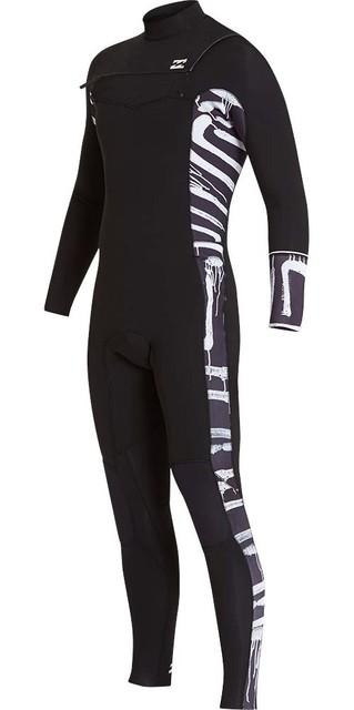 2018 Billabong Furnace Revolution 4/3mm Chest Zip Wetsuit Black Print L44m06 Picture