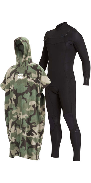 2018 Billabong Furnace Absolute 4/3mm Chest Zip Wetsuit Black & Change Robe Bundle Picture