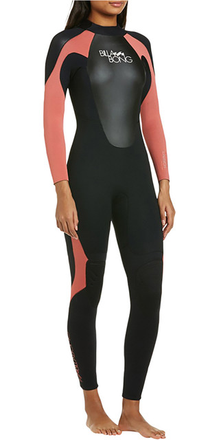 2018 Billabong Womens Launch 3/2mm Gbs Wetsuit In Black / Cherry 043g01 Picture