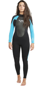 2018 Billabong Womens Launch 4/3mm GBS Wetsuit Black / Turquoise 044G01