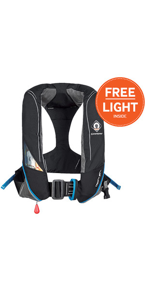 2018 Crewsaver Crewfit 180N Pro Automatic With Harness Lifejacket Black 9025BKA + Hood & FREE LIGHT