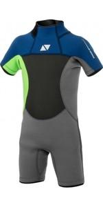 2021 Magic Marine Junior Brand 3/2mm Back Zip Shorty Wetsuit 180026 - Lime