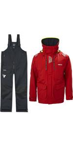 2021 Musto Mens BR2 Offshore Jacket & Trouser Combi Set - Red / Black