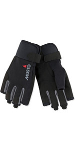 2019 Musto Essential Sailing Short Finger Gloves Black AUGL003