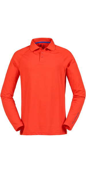 Musto Evolution Sunblock Long Sleeve Polo Top Fire Orange SE0254