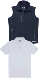 Musto Mens Corsica BR1 Fleece Lined Gilet & Sunshield Wicking UPF30 Polo Package - True Navy / White
