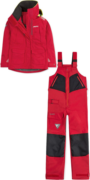 2018 Musto Womens BR2 Offshore Jacket & Trouser Combi Set Red