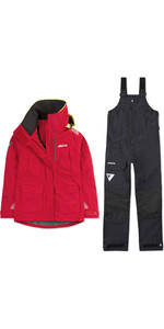 2020 Musto Womens BR2 Offshore Jacket & Trouser Combi Set - Red / Black