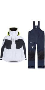 2020 Musto Womens BR2 Offshore Jacket & Trouser Combi Set - White / Navy