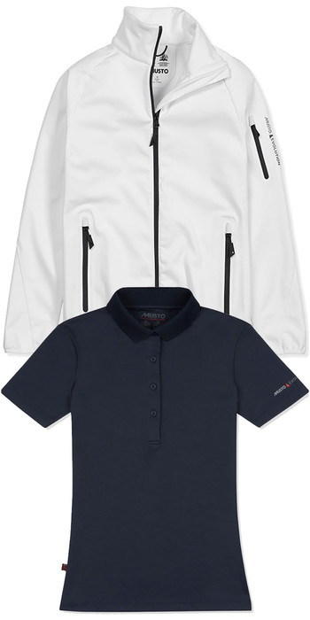 Musto Womens Crew Softshell Jacket White & SunShield Wicking UPF30 Polo Navy
