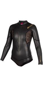 2019 Mystic Womens Diva Black Series 2mm Front Zip Long Arm Super Shorty Wetsuit Black 180065