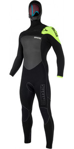 2019 Mystic Legend Hooded 5/3mm Chest Zip Wetsuit BLACK / LIME 180000