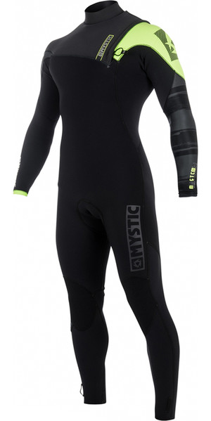 2018 Mystic Majestic Zip Free Wetsuit 4/3mm BLACK / LIME 180008